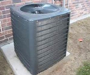 An image of an outside condensing unit which was recently installed.