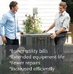 Am image of a customer and air conditioning technician standing next to an outside condensing unit.