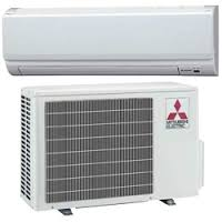 A image of a Mitsubishi mini split outdoor unit and a wall mounted indoor unit.